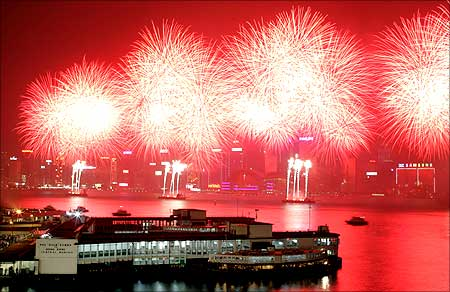 Fireworks light the sky over Victoria Harbour in Hong Kong.