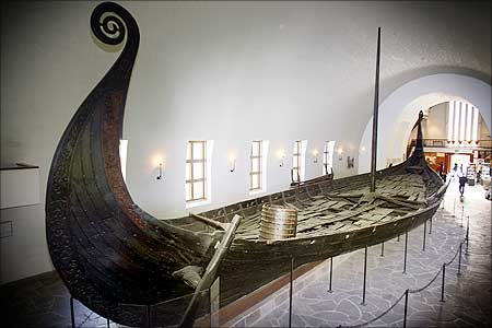 A longboat, known as the Oseberg ship, at the Viking Ship Museum in Oslo, Norway.