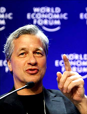 James Dimon, CEO of JPMorgan Chase Inc. attends a session at the World Economic Forum (WEF) in Davos