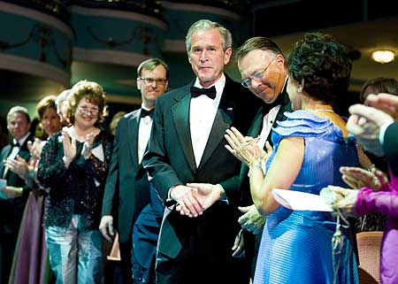 Former US President George W. Bush with Nicholas Chabraja.