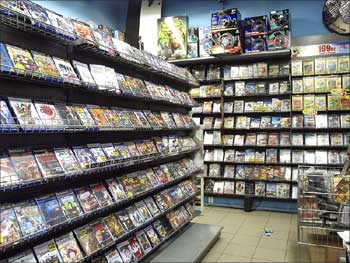 Computer games on display at a store.