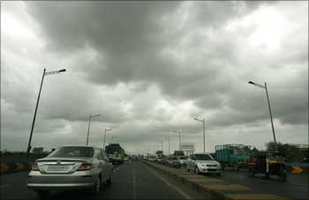 Rain clouds on Western Express Highway, Mumbai