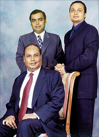Mukesh & Anil Ambani with their father, Late Dhirubhai Ambani