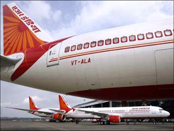 Air India aircraft at Mumbai airport.