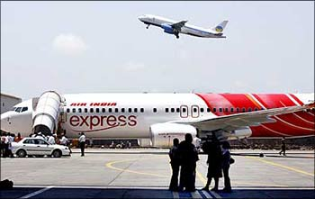 The low-cost Air India Express aircraft at the Mumbai airport.