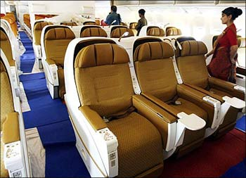 Inside an Air India Airbus.
