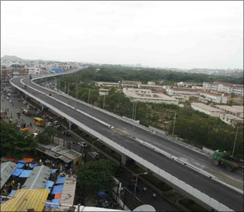 The 11.66-km-long P V Narasimha Rao Elevated Expressway Corridor is the country's longest flyover.  Photograph: Snaps India