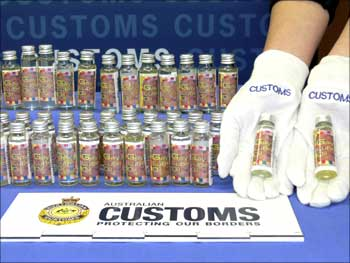 Bottles containing illegal liquid steroids seized by the Australian Customs.