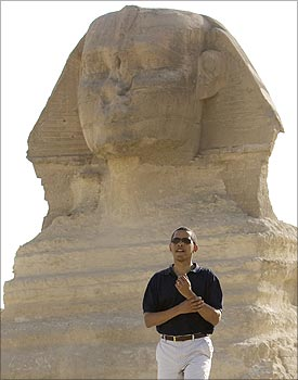 US President Barack Obama during a tour of the Great Pyramids of Giza.