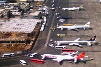 Aircraft at the Mumbai airport.