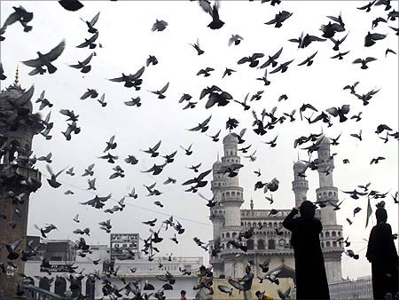 Pigeons fly against the backdrop of the historic Charminar monument in Hyderabad.