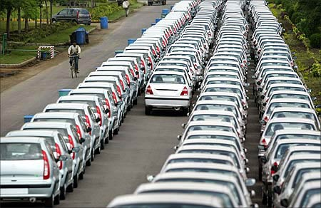 New cars awaiting despatch at Tata Motor's plant in Pune.