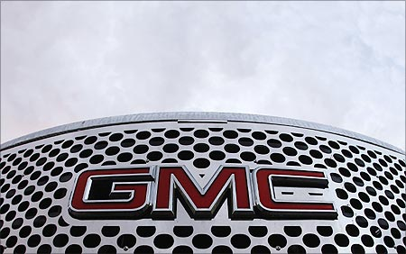 A GMC logo is seen on a pickup truck at the Laurier General Motors dealership in Quebec City.