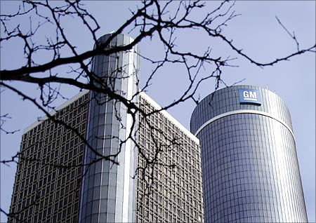 The General Motors world headquarters is seen in downtown Detroit, Michigan.