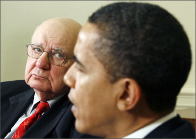 US President Obama meets with Economic Recovery Advisory Board Chairman Volcker in the Oval Office of the White House