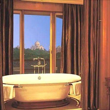 Even the bathroom at the Kohinoor Suite, the Oberoi Amarvilas, Agra, offers a view of the Taj Mahal.
