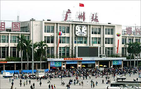 Travellers flock the old train station of Guangzhou.