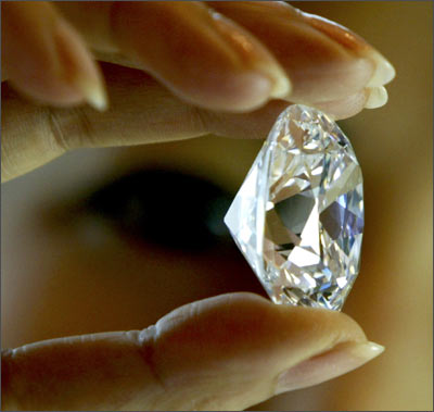 This is the first large classic cushion-shape diamond to be auctioned.