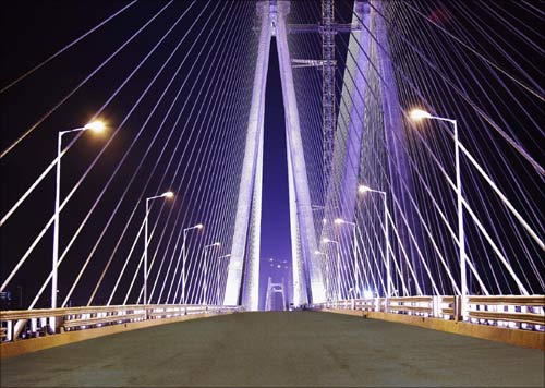 The brightly lit Bandra-Worli sea link in Mumbai.