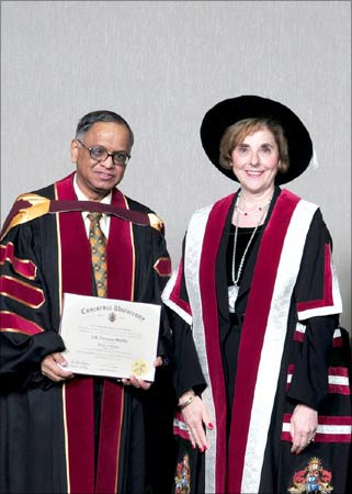 Narayana Murthy with Judith Woodsworth, president and vice chancellor, Concordia University.
