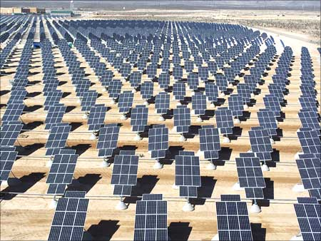 Some of the 70,000 solar panels generating electricity for US Air Force Base in Las Vegas, Nevada.