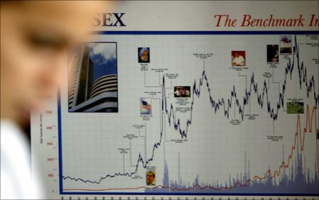 A stock market chart at a brokerage in Mumbai.