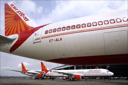Air India's newly acquired Airbus A321 and Boeing 777-200 LR aircraft at the Mumbai airport.
