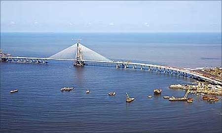 An aerial view of the Bandra-Worli Sea Link in Mumbai