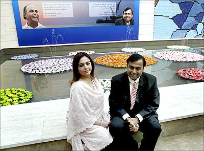 RIL chairman Mukesh Ambani with wife Nita in Mumbai.