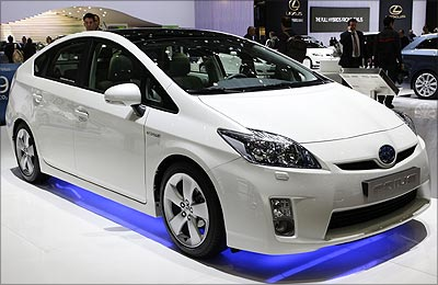A Toyota Prius 3 is displayed during the first media day of the 79th Geneva Car Show in Geneva.