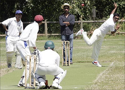 Microsoft has a cricket programme for its Indian employees; here, they play against a local team in Washington