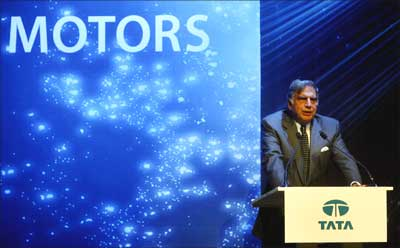 Tata Motors chairman Ratan Tata speaks at a press conference in Mumbai. | Photograph: Punit Paranjpe