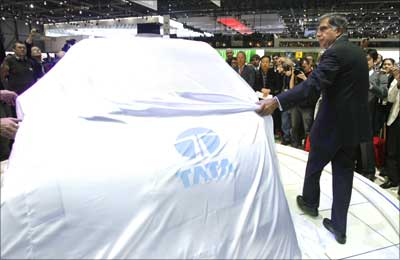 Tata Motors' chairman Ratan Tata unveils the Nano at the 78th Geneva Car Show.