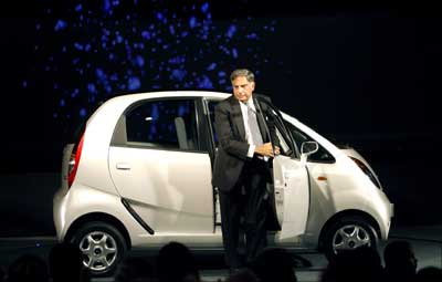 Tata Group Chairman Ratan Tata steps out from the Nano. | Photograph: Adnan Abidi/Reuters