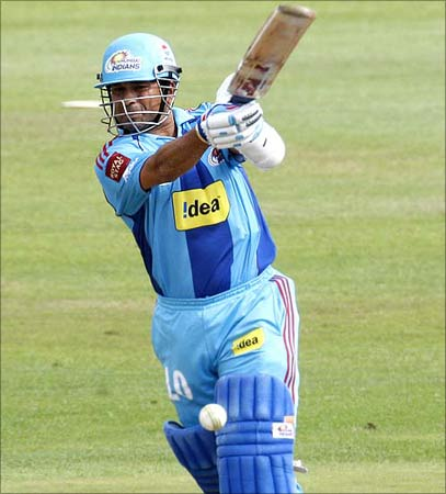 Sachin Tendulkar in full flow at an IPL cricket march in South Africa.
