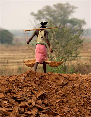 A labourer works at a stone quarry on the outskirts of Jagdalpur in Chhattisgarh.