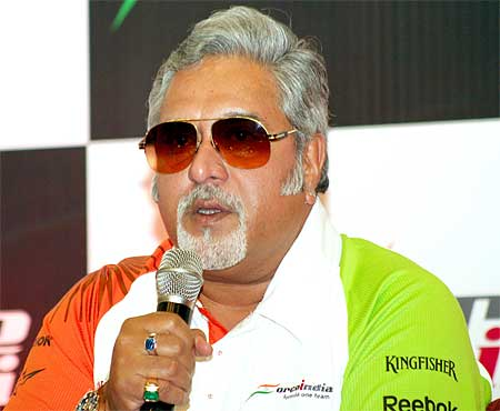 Liqquor baron Vijay Mallya bought the Spyker Formula One team and renamed it Force India.