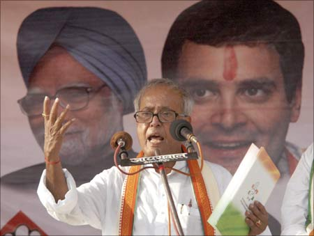 India's Finance Minister Pranab Mukherjee at an election rally in Bihar.