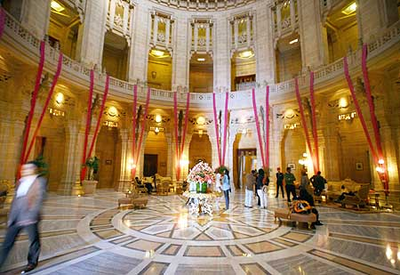 The lobby of Umaid Bhawan Palace also running as a five-star deluxe hotel at Jodhpur, Rajasthan