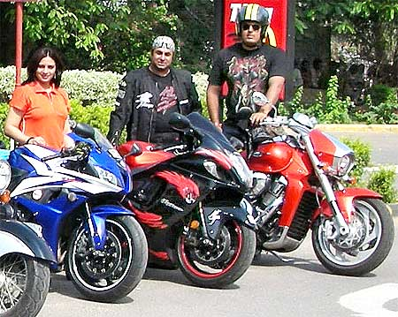 Sharma with her biker friends, Group Of Delhi Super Bikers.