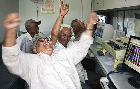 Traders rejoice at a brokerage in Ahmedabad.