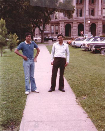 Jain (right) on his university campus, shortly after arriving in the United States.