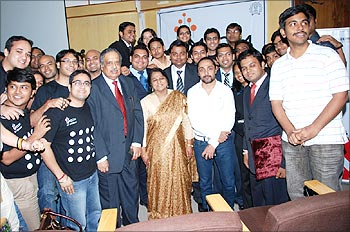 M. Damodaran, former SEBI chief, Karuna Jain, Head of SJMSOM, Rahul Bose, actor with the students.
