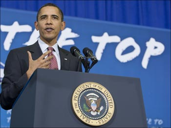 US President Barack Obama speaks about education at the Wright Middle School in Madison, Wisconsin.