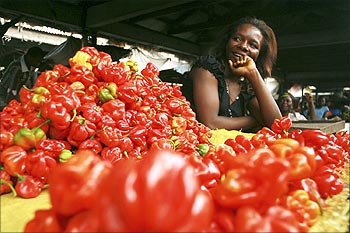 A vendor stands behind her vegetables on sale at the market in Calabar, Nigeria.