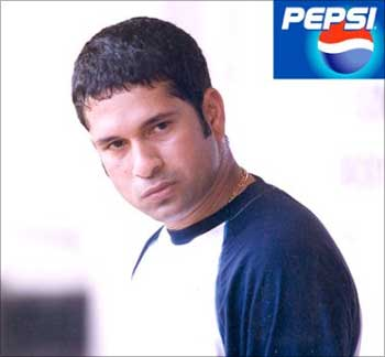 Sachin Tendulkar in a Pepsi ad.