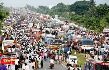 Left Front supporters block a national highway in support of the Tata car project at Singur village.