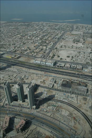 A view from the 'At The Top' observation deck at the 124th floor of the Burj Tower in Dubai