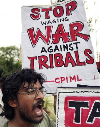 An activist of Communist Party of India (Marxist-Leninist) shouts anti-government slogans during a protest against the government's actions in Lalgarh.
