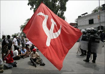 Maoist activists and supporters hold a sit-in demonstration.